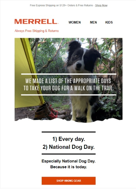 Screenshot of a dog-owner-related email from Merrell