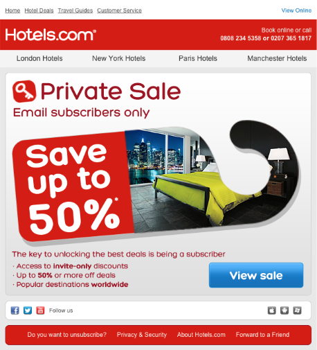 Image of Hotels.com private sale for email subscribers