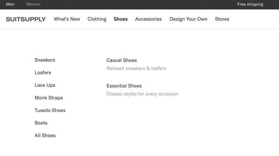 Screenshot of Suitsupply's category page for shoes.