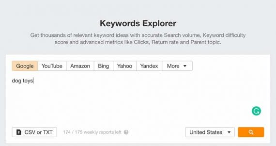 Screenshot of Ahrefs Keywords Explorer.