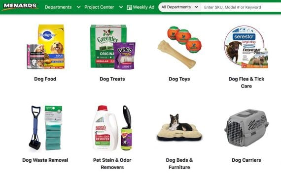 Screenshot of Menard's pet categories web page