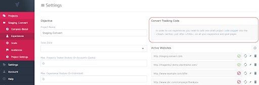 Convert Experiences Tracking Code