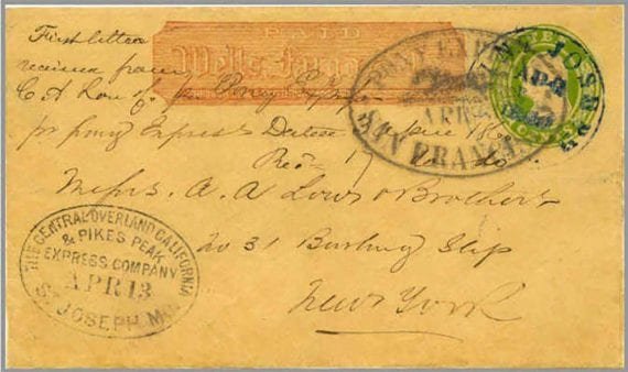 Image of an original letter carried via the Pony Express