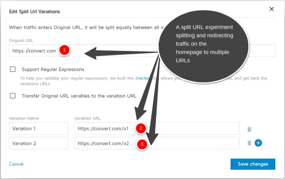 Redirect experiment from homepage in Convert Experiences