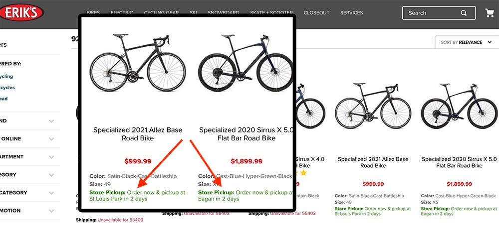 Web page from Erik's bike shop showing store pickup location