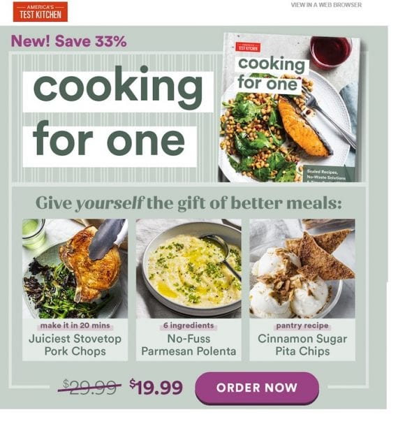 Screenshot of a marketing email from America's Test Kitchen