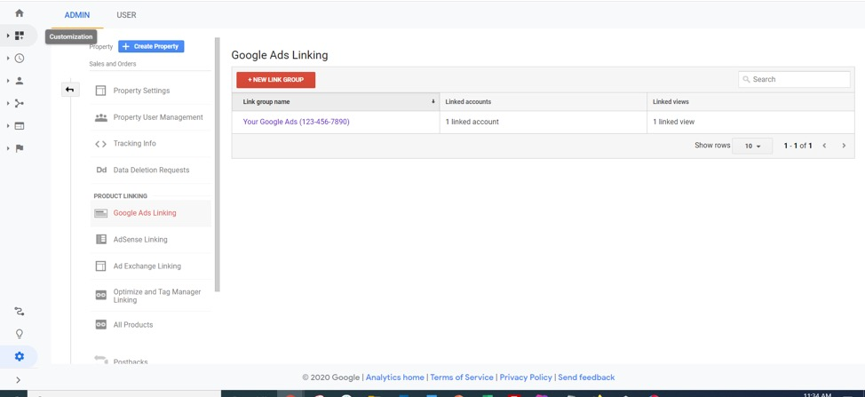 Google Ads linking feature