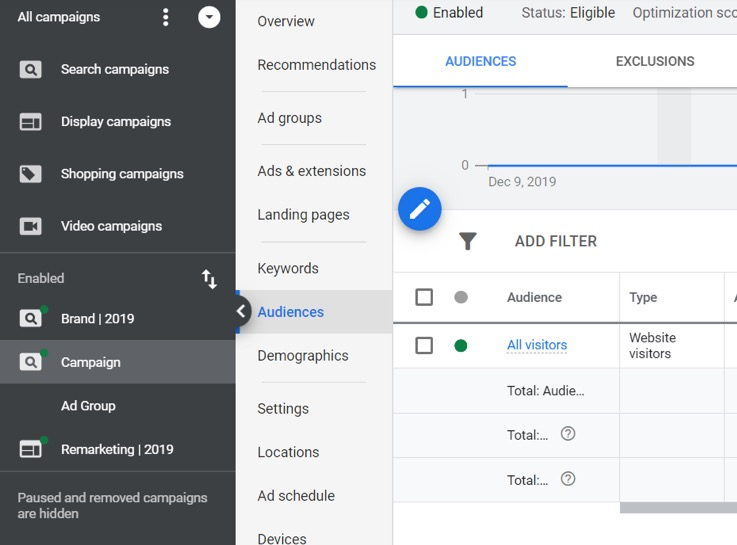 Adding an audience in Google Analytics
