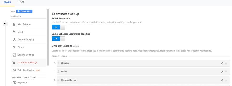 Ecommerce reporting in Google Analytics