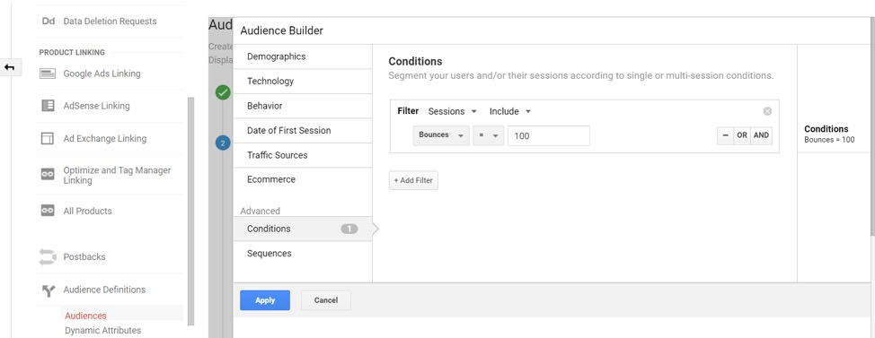 Audience Builder in Google Analytics