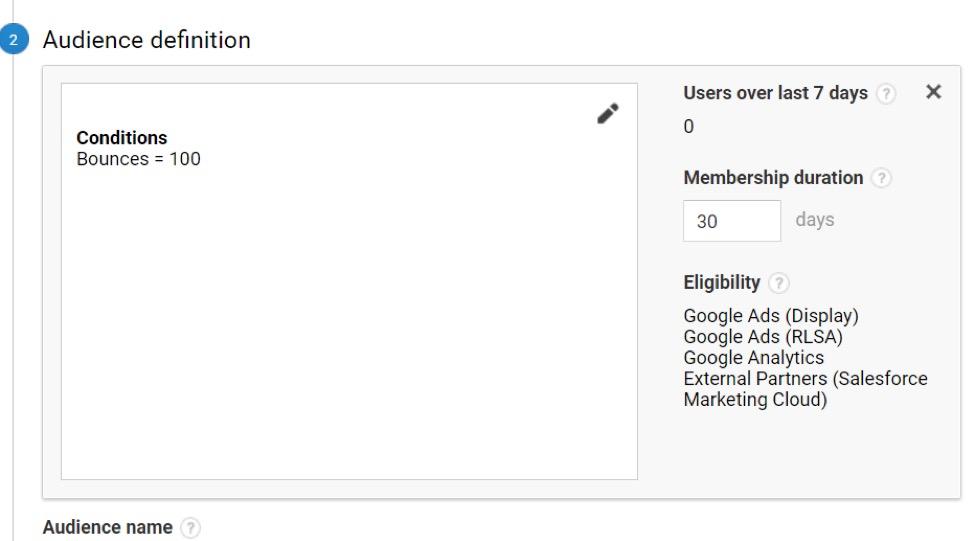 Audience definition in Google Analytics