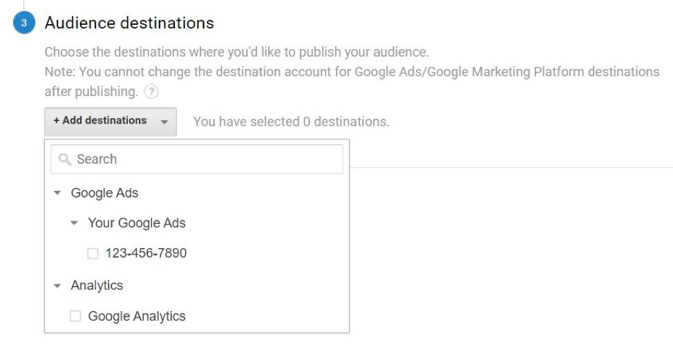 Audience destinations in Google Analytics