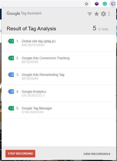 Google Tag assistant recording