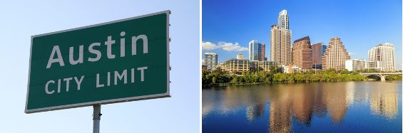 """2 images - one of """"Austin City Limit"""" road sign and the other of the downtown Austin skyline"""