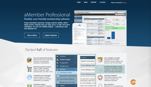 Home page of aMember Professional