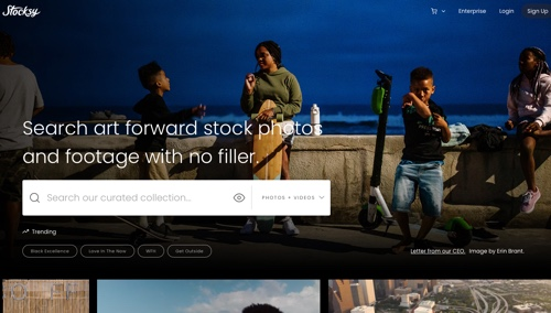 Home page of Stocksy