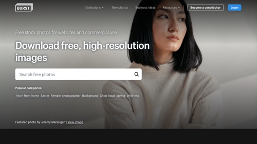 Home page: Shopify Burst