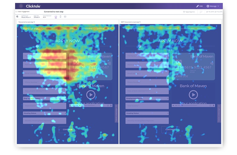 Heatmap analytics in Clicktale