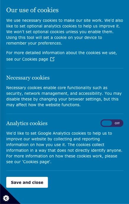 Necessary and analytics cookies example