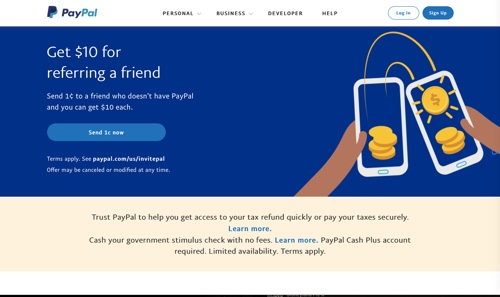 Screenshot of PayPal's home page