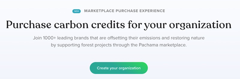 Screenshot of a page from Pachama.com showing how to purchase carbon offset credit