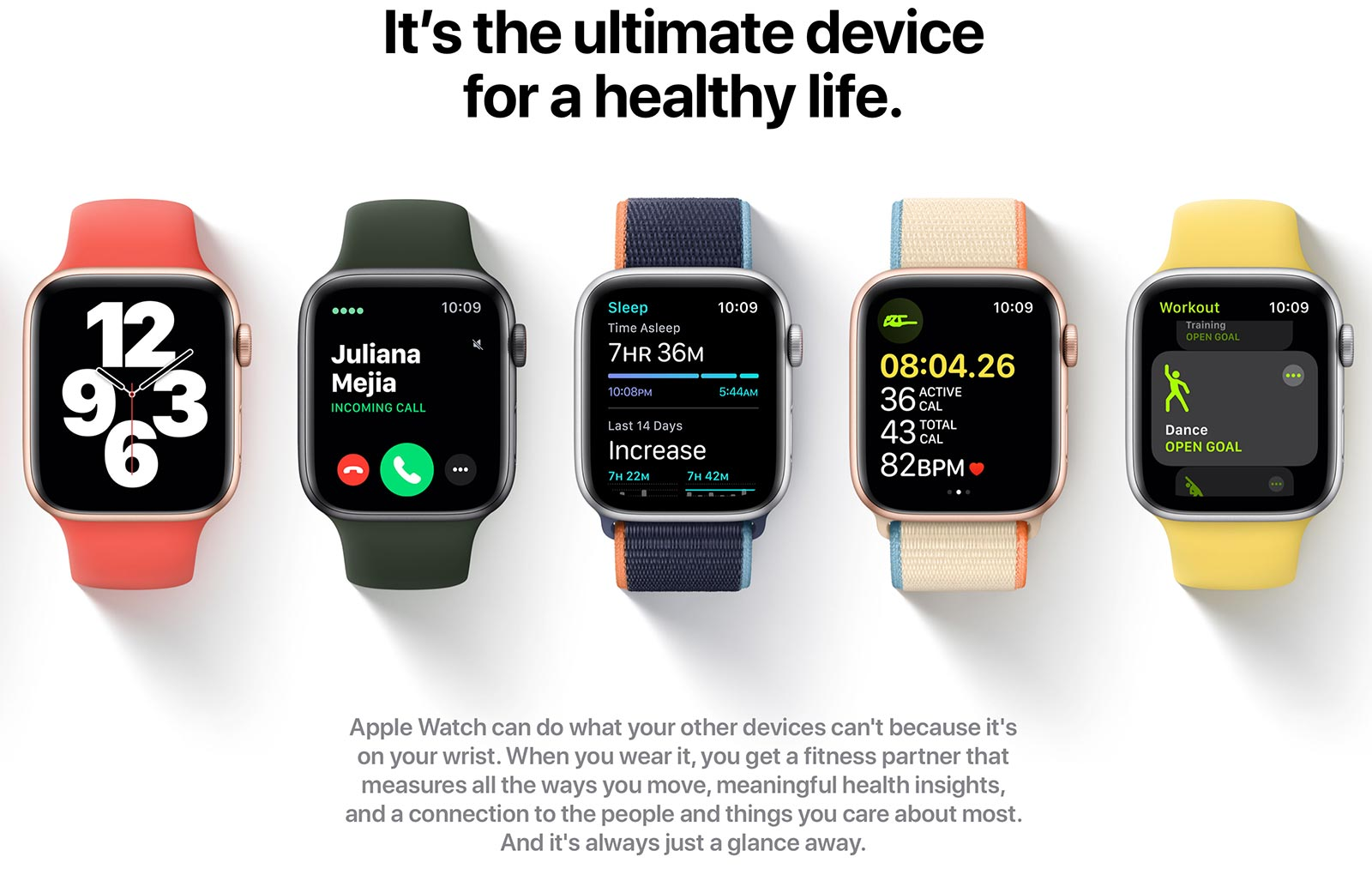 Apple Watch product page, with the headline: It's the ultimate device for a healthy life.