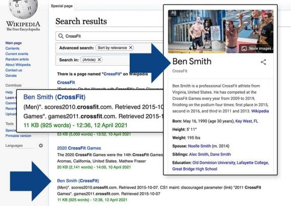 Screenshot of a Wikipedia search for CrossFit showing Ben Smith