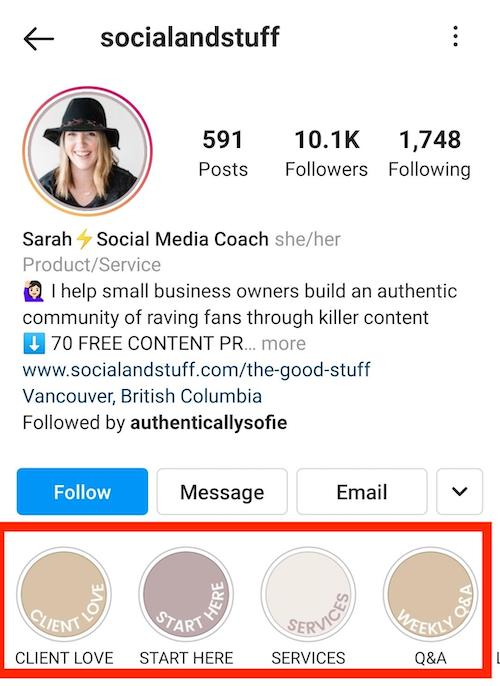 Screenshot of Instagram Highlights for user @socialandstuff.