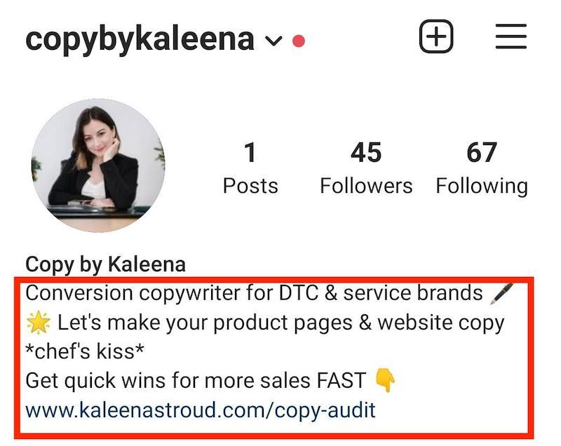Screenshot of Kaleena Stroud's Instagram bio