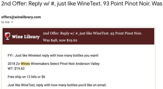 Screenshot of a WineText email offer.