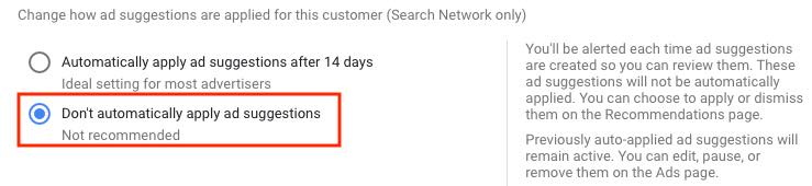 Screenshot in Google Ads interface to auto-apply ad copy suggestions.