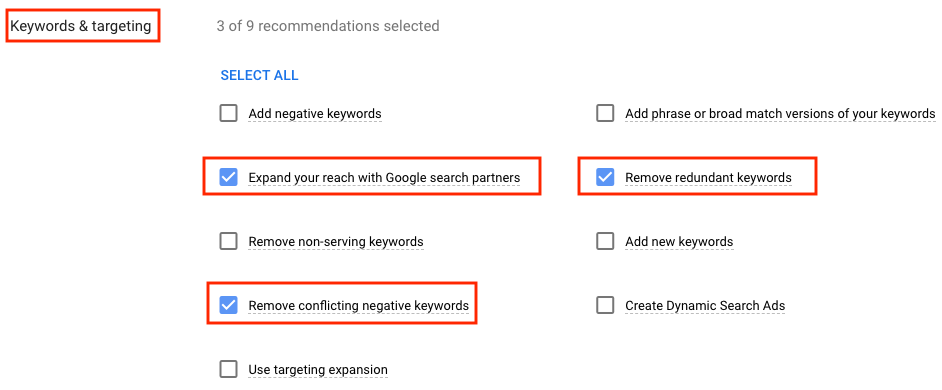 """Screenshot of Google Ads interface to auto-apply """"Keywords & targeting"""" options"""